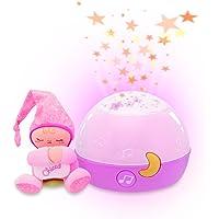Chicco Proiettore Goodnight Stars Rosa, Luce Notturna e Proiettore Stelle Bambini Multicolori, Carillon Neonati con…