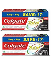 Colgate Total Charcoal Anticavity Toothpaste - 185gm (Pack of 2)