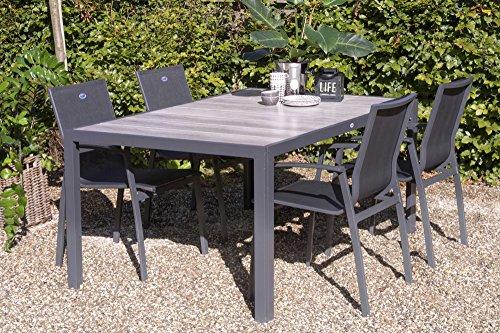 Hartman Tanger Esstisch in xerix/Grey Wood aus Aluminium/Keramik, 168x105cm, Gartentisch, Gartenmöbel Tisch, moderner Esstisch