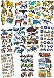 Unbekannt 80 tlg. Set Aufkleber / Sticker - verschiedene Motive - selbstklebend - für Jungen - Stickerset Kinder - z.B. für Stickeralbum / Tiere Auto Verkehrszeichen Fi..