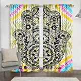 Indian Tie Dye Fatima Tapestry Mandala Window Curtains, Abstract Hand of Fatima Ethnic Vintage Art, Living Room Bedroom Curtain 2 Panels Set, 84 x 80 Inch
