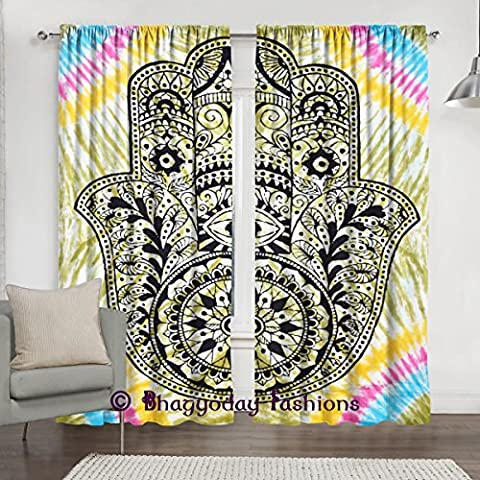 Indian Tie Dye Fatima Tapestry Mandala Window Curtains, Abstract Hand of Fatima Ethnic Vintage Art, Living Room Bedroom Curtain 2 Panels Set, 84 x 80