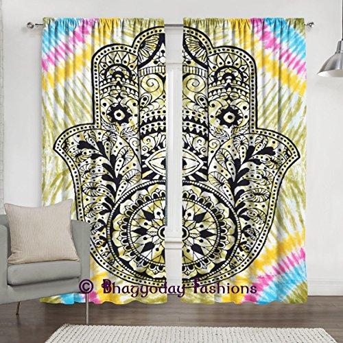 "Indian Tie Dye Fátima tapiz Mandala ventana cortinas, abstracto mano de Fátima étnico Vintage Art, salón o dormitorio 2paneles cortinas, 84x 80"""