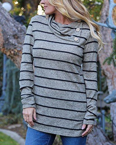 Junshan Femme Manches Longues Casual t-shirt Bloc de Couleur Patchwork Blouse T Shirt Tunique Tops Bande d'impression Irrégulière Col Blouse Gris