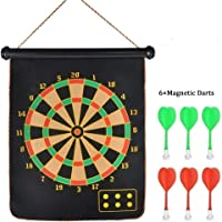 SVE Double Faced Portable Foldable Magnetic Dart Game / Latest Roll-up Double Sided Wall Hanging Magnetic Dart Board Set with 6 Colourful Non Pointed Darts 15 Inches (Black)