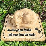somiss Cat Gedenksteine, schöne Katze, Grabsteine, mit 3D-schlafender Katze auf der Oberseite, Polyharz, 22,6 x 17,8 x 7,6 cm