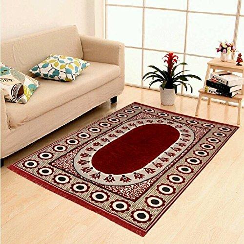 Zesture Bring Home Premium Velvet Touch Floral Chenille Carpet – 55″ x 90″, Multicolour
