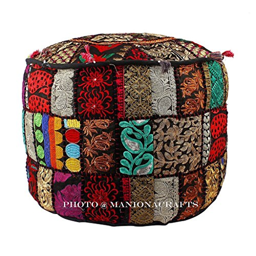 Baumwolle Traditionellen Stuhl (Bohemian Schwarz Patch Work osmanischen Cover, traditionellen vintage-indischen Pouf Boden/Fusshocker, Deko Weihnachten Stuhl Bezug, 100% Baumwolle ART DECOR, handgefertigt Pouf)
