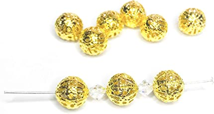 Package of 100 pcs 6 mm Gold Plated Hollow Filigree Round Ball Metal Spacer Beads for Jewelry Making DIY Craft Projects (Gold)