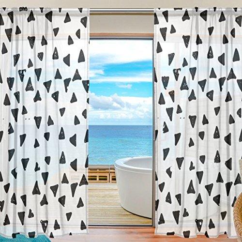 yibaihe Fenster Sheer Vorhänge Panels Voile Drapes Schöne Einrichtung schwarz Dreiecke in weiß Hintergrund 140 W x 198cm L 2Platten ideal für Wohnzimmer Schlafzimmer Girl 's Room -