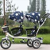 QXMEI Kinder-Doppel-Dreirad Vorder- und Rücksitze Trolley Twins Zwei-Sitzer Licht Fahrrad Zweites Kind Baby Outdoor Dreirad,Blue