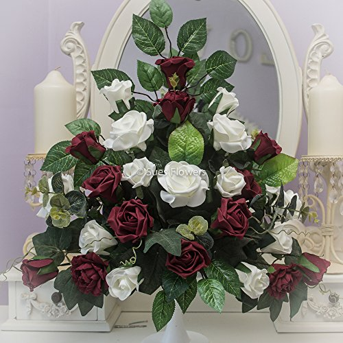 wedding-flowers-pedestal-arrangement-for-church-or-venue-in-burgundy-and-ivory