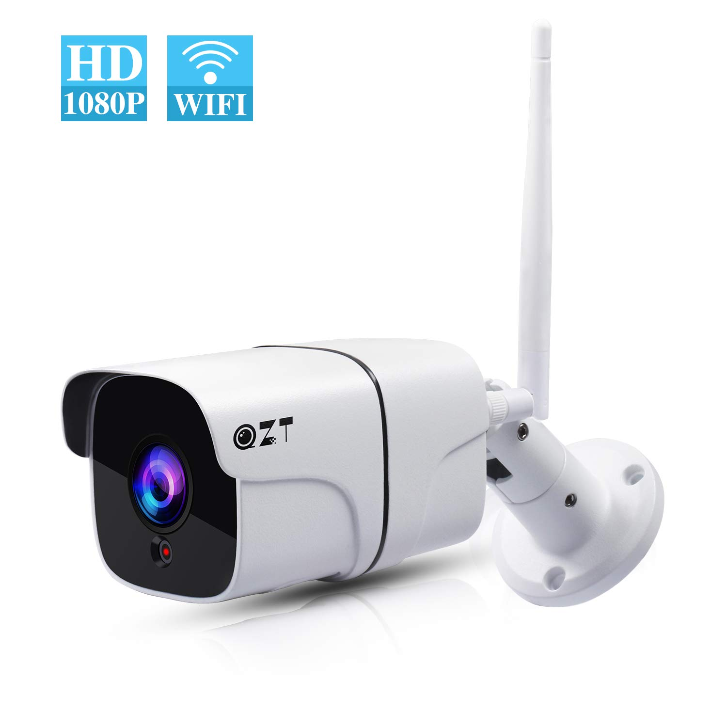 QZT Outdoor IP Camera 1080P FHD Wireless Security Camera, Waterproof IP66 Outside WiFi Bullet Camera with IR Night…