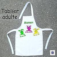 Texti-Cadeaux-Tablier cuisine adulte les trois Lapins à personnaliser Exemple: Mamie, Maman, Hugo