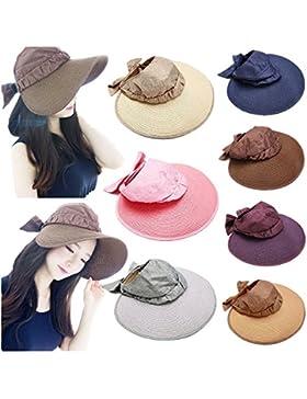 Las mujeres sombrero de paja visera verano playa Damas plegable Roll up Wide Brim Cap