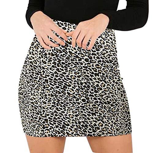 TUDUZ Falda Estampada De Leopardo para Mujer Minifalda LáPiz Bodycon Hip Falda UniformeEnaguasMicrofibra (Amarillo, M)