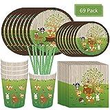 Amycute 69 pcs 8 niños Vajilla Diseño Animal Desechable, Decoracion Verde Vasos, Platos, Servilletas, pajas Vajilla de cumpleaños Infantil Fiesta de cumpleaños Infantil Baby Shower