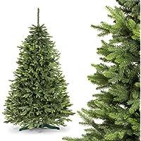 FAIRYTREES albero di Natale finto ABETE ROSSO PREMIUM, Materiale MISTO di pressofusione & PVC, incl. supporto in metallo, 220cm, FT02-220