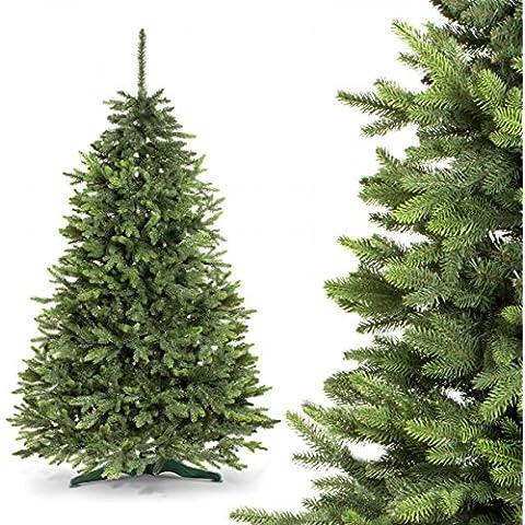 FAIRYTREES albero di Natale finto ABETE ROSSO PREMIUM, Materiale MISTO di pressofusione & PVC, incl. supporto in metallo, 180cm, FT02-180