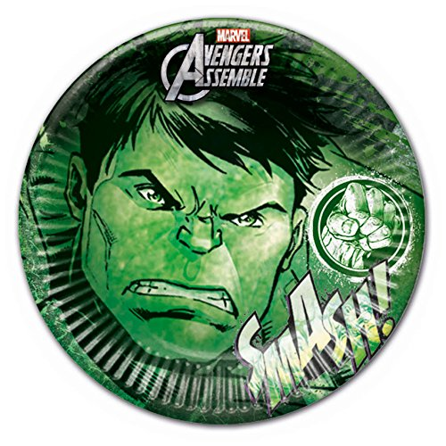 Procos 85380 - Piatti Carta Hulk Marvel Avengers, Ø23 cm, 8 Pezzi, Verde