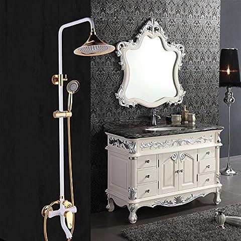 YanCui@ Rubinetti per doccia Perla della doccia Orient Titanio placcatura vernice bianca in ottone Kit