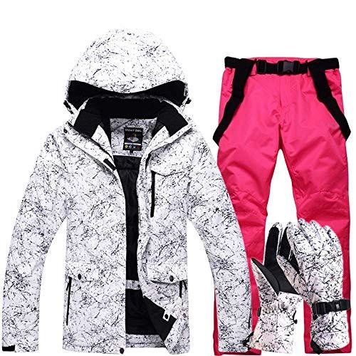 FuweiEncore Hombres, Damas, Parejas Chaquetas de esquí Impresas a Prueba de Viento, a Prueba de Viento Pantalones de esquí Conjunto Chaqueta de Snow Coat (Color : Bright Powder, tamaño : XL)