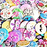 Designed Super Fantastic Round Shaped Painted 4 Hole Wooden Buttons 30mm*30mm(Pack Of 25pcs)