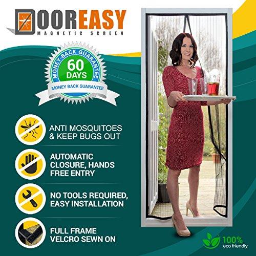 """DOOREASY Cortina magnética para puerta con mosquitero, cierre rápido, sin espacio para mosquitos o insectos molestos (para puertas de hasta 34 """"x79"""")"""