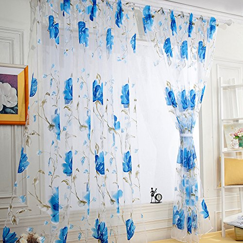 DIKHBJWQ 1 STÜCKE Tapete Reben Blätter Wandbilder Tüll Tür Fenster Vorhang Tapeten Drapieren Panel Wohnzimmer Sheer Schal Schlafzimmer Volants Dekoration Blau - Jungen Vorhang-panels