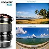 Neewer 8mm f / 3.5-22 Asphärische HD Fischaugenobjektiv mit Schutz Objektivdeckel, abnehmbare Tulpe Gegenlichtblende und Tragetasche für Nikon DSLR Kameras Vergleich