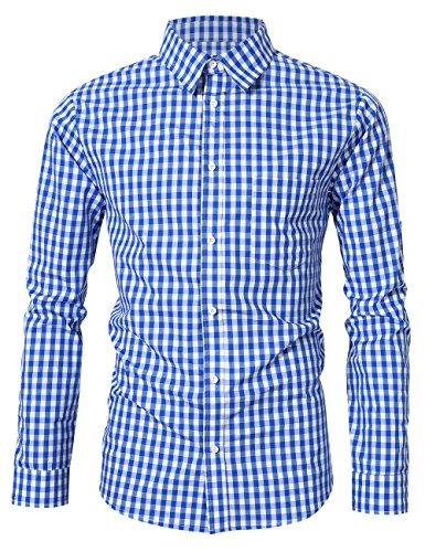 KOJOOIN Herren Kariert Trachtenhemd Landhausstil Langarmhemd Slim fit Hemd, Hemd - Blau, Gr.- XL/ 40 EU