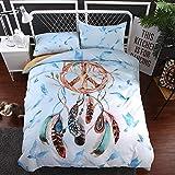 BEDSETAAA Bettwäsche Artikel Vier Stück Anzug Polyester Baumwolle 3D Digitaldruck Bettbezug Blatt Kissenbezug Dreamnet Serie 200x229cm Weiß