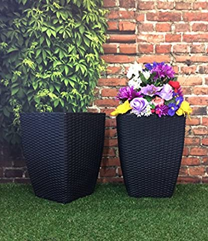 (PACK OF 2) Tall Square Basket Weave Rattan Effect