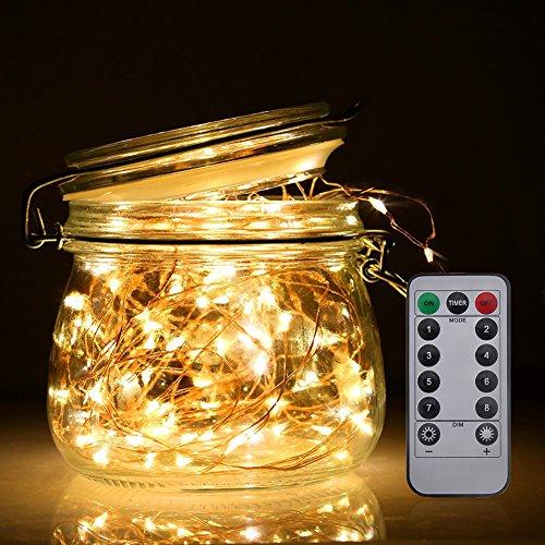 LED 5m Lichterkette ferngesteuert Batteriebetrieben 50 LEDer Kupferdraht für Weinachten Hochzeit Geburtstag Cafe Bar Ladengeschäft Vase Deko 5m kupfer Lichterkette Gelb lichtfarbe