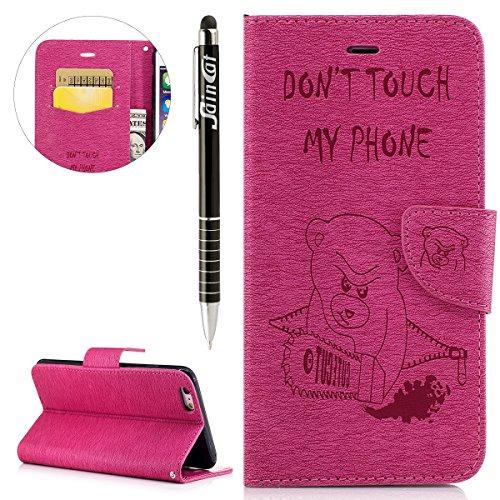 iPhone 6 Plus Custodia, iPhone 6S Plus Cover Wallet, SainCat Custodia in Pelle Cover per iPhone 6/6S Plus, Anti-Scratch Protettiva Caso Elegante Creativa Dipinto Pattern Design PU Leather Flip Portafo Red Rose #2