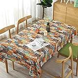 BZ-ZXS Englische Zeitung Baumwolle Und Leinen Tischdecke Literarischen Café Tisch Decken Tuch Schreibtisch Orange Nummernschild,Color,120 * 120CM