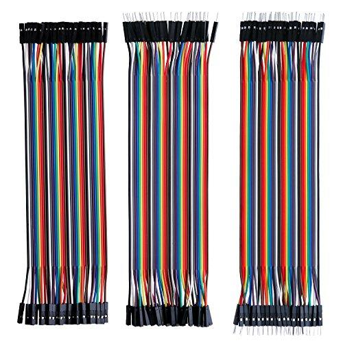 Preisvergleich Produktbild 120pcs 40x 20cm Male-Female Male-Male Female-Female Jumper Draht Kabel Steckbrücken Drahtbrücken für Arduino Raspberry pi (Stecker zu Buchse, männlich auf männlich, weiblich auf)