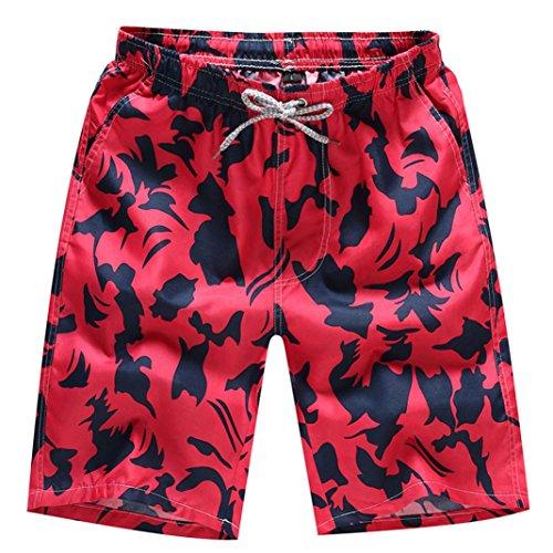 QinMM Herren Shorts Badehose Quick Dry Strand Surfen Laufen Schwimmen Wasserhosen Sommer Shorts Hosen Täglich Casual Wadenlangen Hosen M-4XL (M, Rot)