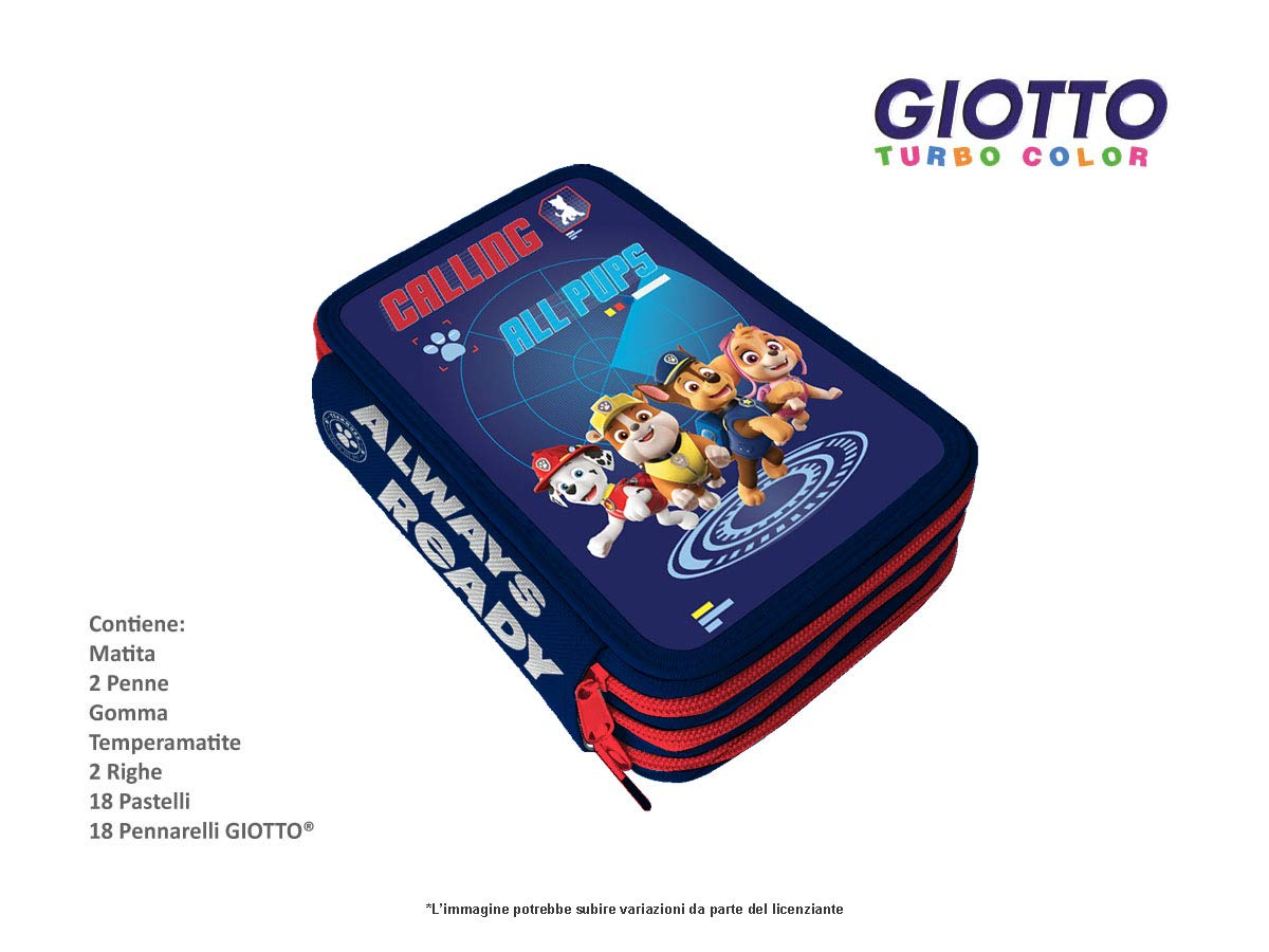 Star Estuche con 3 cremalleras de la Patrulla Canina Boy Giotto + Disney MC.-PP0244B-