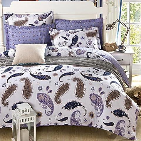 WAZZ, in cotone twill, 4 pezzi per la biancheria da letto, di cotone, 007-, 007-
