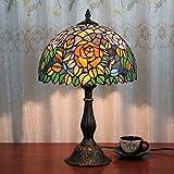 12 pulgadas pastoral naranja rosa manchada Tiffany estilo lámpara de mesa lámpara de dormitorio lámpara de cabecera