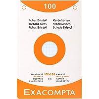 Exacompta 13652E Etui refermable de 100 fiches bristol 10 x 15 cm quadrillées 5x5 perforées couleurs assorties ( 25…
