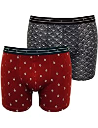 Scotch & Soda 2-Pack Stunning Geo Print Men's Boxer Briefs Gift Set, Burgundy/Navy