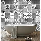 Pegatinas decorativas artísticas en forma de azulejos para cuarto de baño (paquete de 56 unidades), 10 x 10 cm