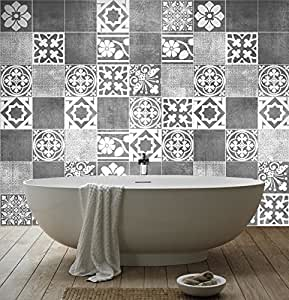 Sticker art carrelage d co deluxe pour salle de bain pack for Deco salle de bain stickers