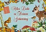 Nostalgische Glückwunschkarte zum Geburtstag ~ Carola Pabst ~ Tiere des Waldes