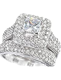 Ladies Ring-Halo Design 2 piece 925 Sterling Silver Luxury Affordable Wedding Engagement Bridal Ring Set