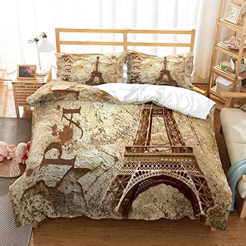 MOUMOUHOME Eiffelturm Bettwäscheset 3D Retro Paris Eiffelturm Gedruckt Champagner Gold Bronze Bettbezug Set für Jugendliche und Erwachsene,3 Stück mit 1 Bettbezug 2 Kissenbezug,Keine Bettdecke (Tröster Eiffelturm)