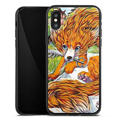 Apple iPhone X Silikon Hülle Case Schutzhülle Fuchs Zeichnung Orange Silikon Case schwarz