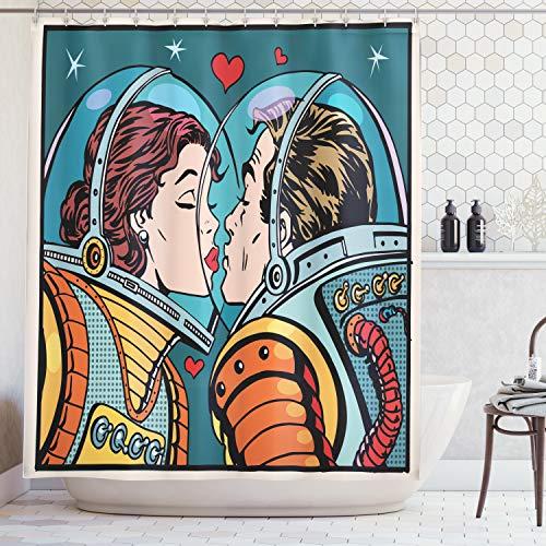 ABAKUHAUS Duschvorhang, Mann und Frau Astronauten Wissenschaft Kosmos Fantasie Paar Pop Art Kunst die Sich Küssen Druck, Wasser und Blickdicht aus Stoff mit 12 Ringen Bakterie Resistent, 175 X 200 cm - Duschvorhänge Wissenschaft